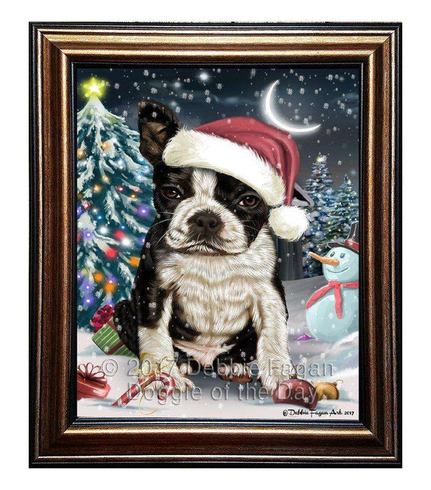 Have a Holly Jolly Christmas Boston Terrier Dog in Holiday Background Framed Canvas Print Wall Art D012