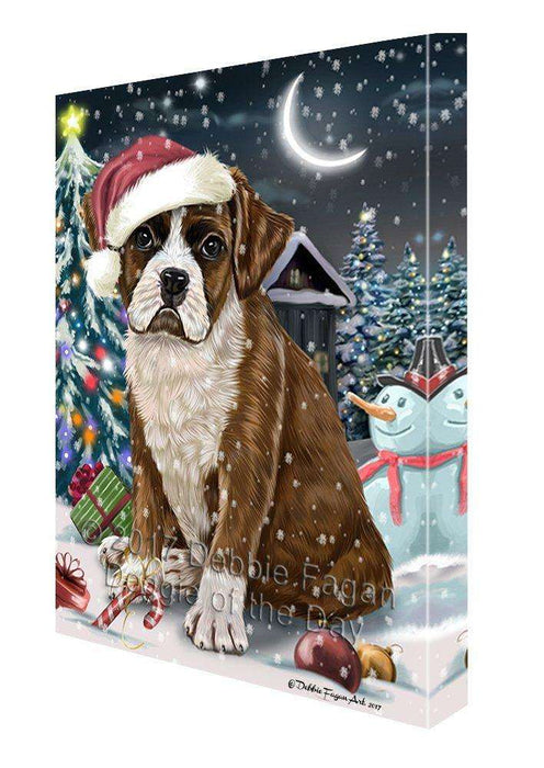 Have a Holly Jolly Christmas Boxer Dog in Holiday Background Canvas Wall Art D041