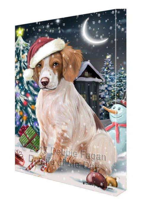 Have a Holly Jolly Christmas Brittany Spaniel Dog in Holiday Background Canvas Wall Art D139