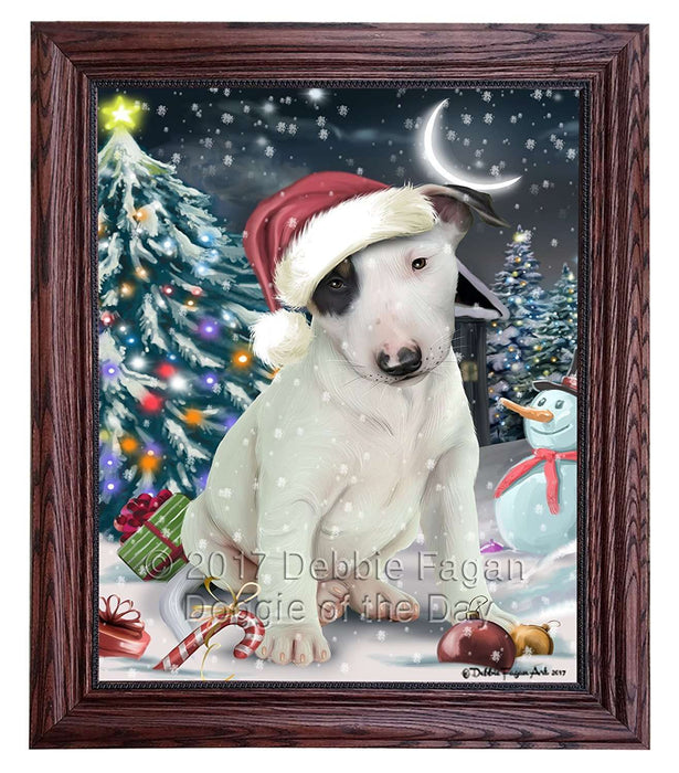 Have a Holly Jolly Christmas Bull Terrier Dog in Holiday Background Framed Canvas Print Wall Art D020