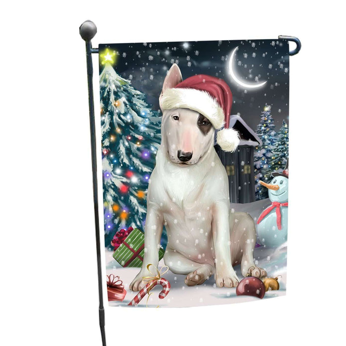 Have a Holly Jolly Christmas Bull Terrier Dog in Holiday Background Garden Flag D022