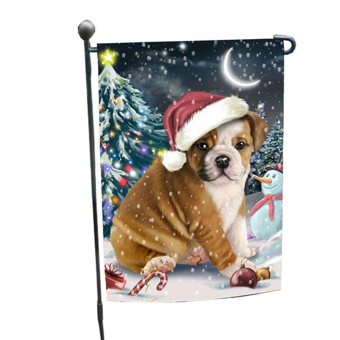 Have a Holly Jolly Christmas Bulldog Dog in Holiday Background Garden Flag D077