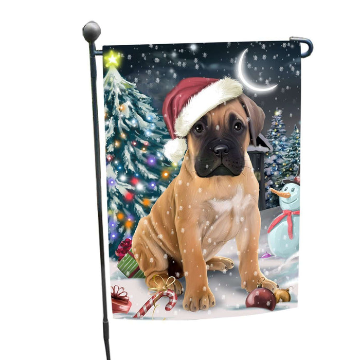Have a Holly Jolly Christmas Bullmastiffs Dog in Holiday Background Garden Flag D143