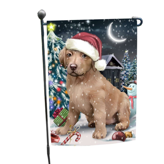 Have a Holly Jolly Christmas Chesapeake Bay Retrievers Dog in Holiday Background Garden Flag D153