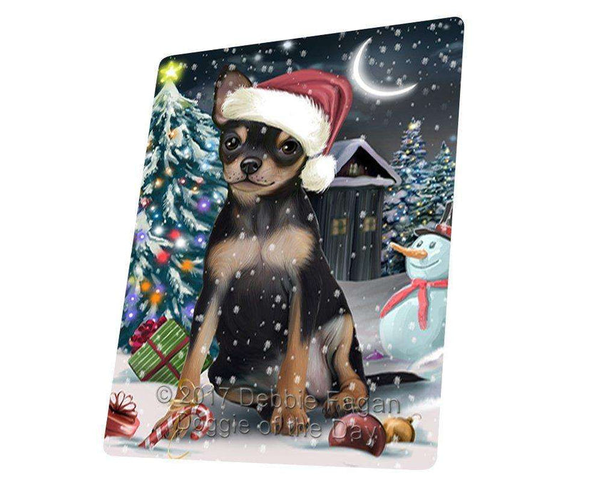 Have a Holly Jolly Christmas Chihuahua Dog in Holiday Background Large Refrigerator / Dishwasher Magnet D089