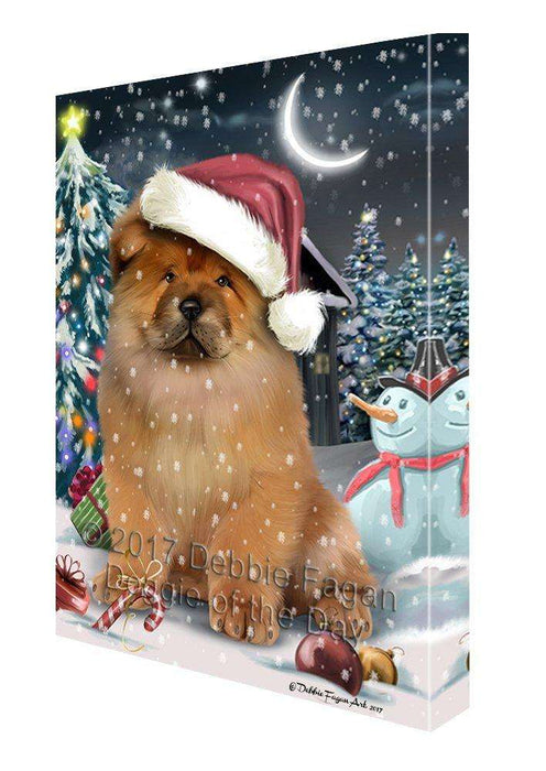 Have a Holly Jolly Christmas Chow Chow Dog in Holiday Background Canvas Wall Art D093