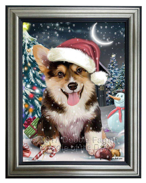 Have a Holly Jolly Christmas Corgi Dog in Holiday Background Framed Canvas Print Wall Art D022