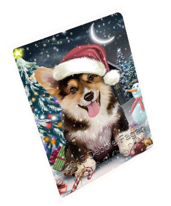 Have a Holly Jolly Christmas Corgi Dog in Holiday Background Large Refrigerator / Dishwasher Magnet D022