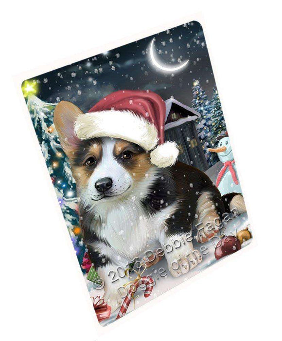 Have a Holly Jolly Christmas Corgi Dog in Holiday Background Tempered Cutting Board D026
