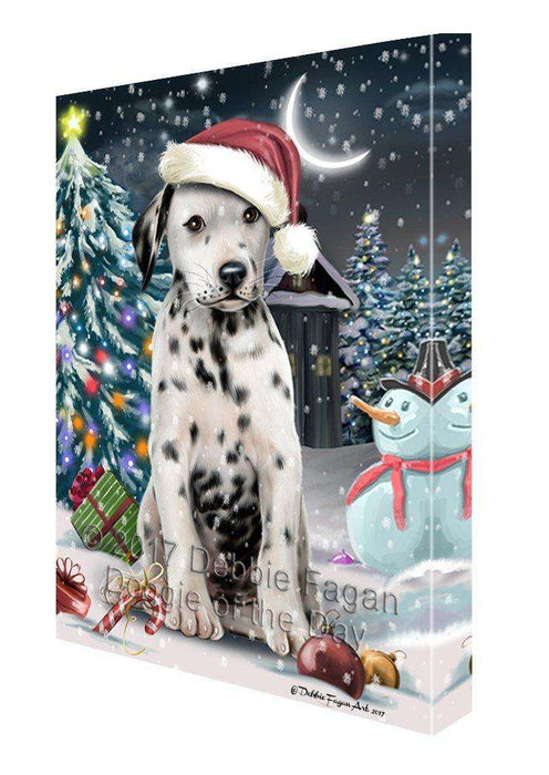 Have a Holly Jolly Christmas Dalmatian Dog in Holiday Background Canvas Wall Art D178