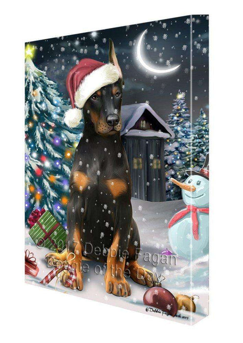 Have a Holly Jolly Christmas Doberman Pinscher Dog in Holiday Background Canvas Wall Art D031