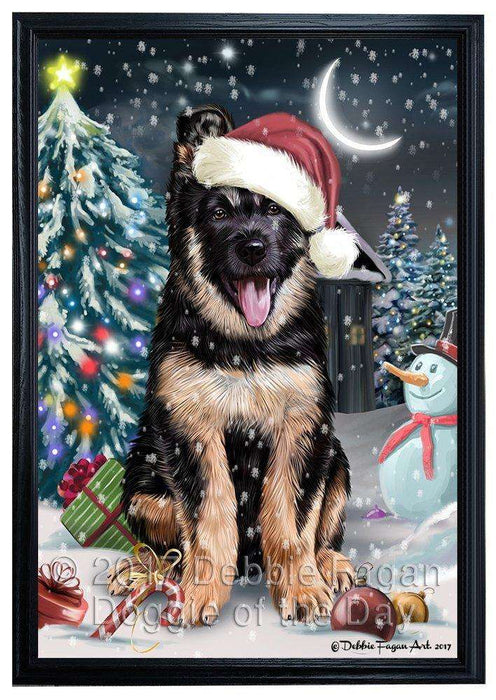 Have a Holly Jolly Christmas German Shepherd Dog in Holiday Background Framed Canvas Print Wall Art D026