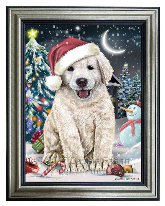 Have a Holly Jolly Christmas Golden Retriever Dog in Holiday Background Framed Canvas Print Wall Art D031