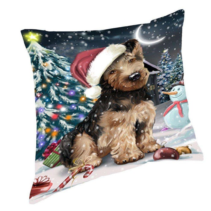 Have a Holly Jolly Christmas Happy Holidays Airedale Dog Throw Pillow PIL032