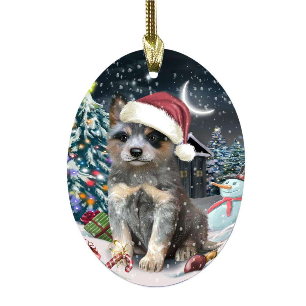 Have a Holly Jolly Christmas Happy Holidays Blue Heeler Dog Oval Glass Christmas Ornament OGOR48040