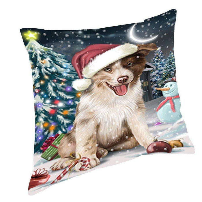 Have a Holly Jolly Christmas Happy Holidays Border Collie Dog Throw Pillow PIL192