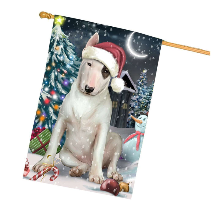 Have a Holly Jolly Christmas Happy Holidays Bull Terrier Dog House Flag HFLG240