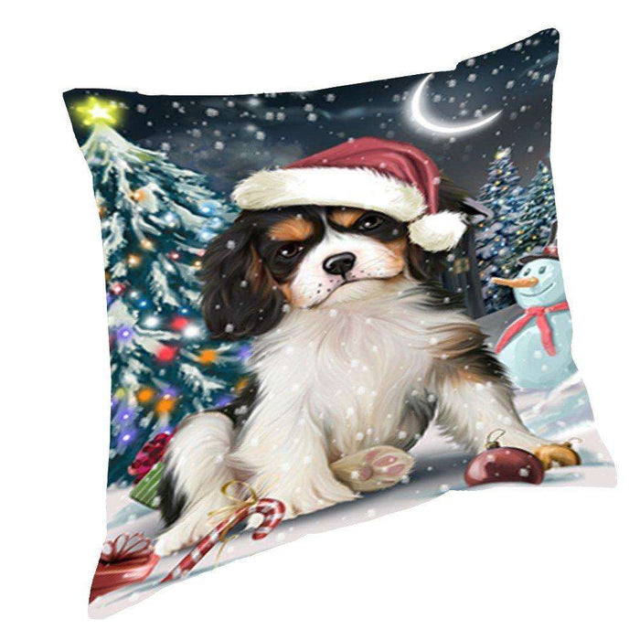 Have a Holly Jolly Christmas Happy Holidays Cavalier King Charles Spaniel Dog Throw Pillow PIL300