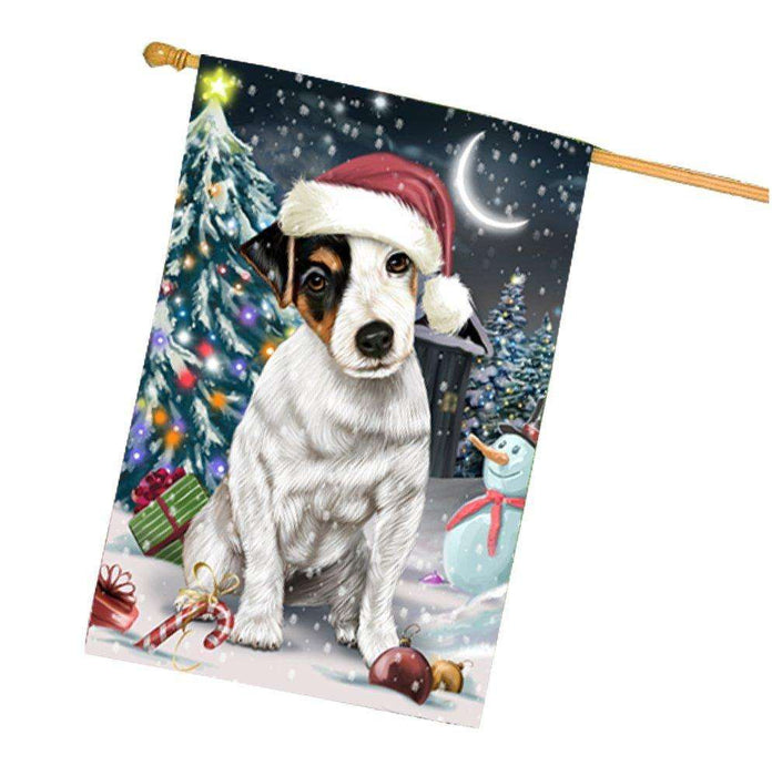 Have a Holly Jolly Christmas Happy Holidays Jack Russell Dog House Flag HFLG287