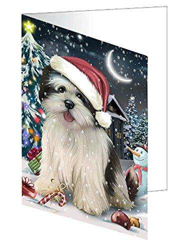 Have a Holly Jolly Christmas Happy Holidays Lhasa Apso Dog Greeting Card GCD490
