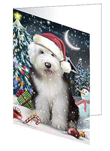 Have a Holly Jolly Christmas Happy Holidays Old English Sheepdog Dog Greeting Card GCD535