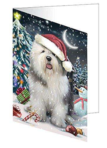 Have a Holly Jolly Christmas Happy Holidays Old English Sheepdog Dog Greeting Card GCD545