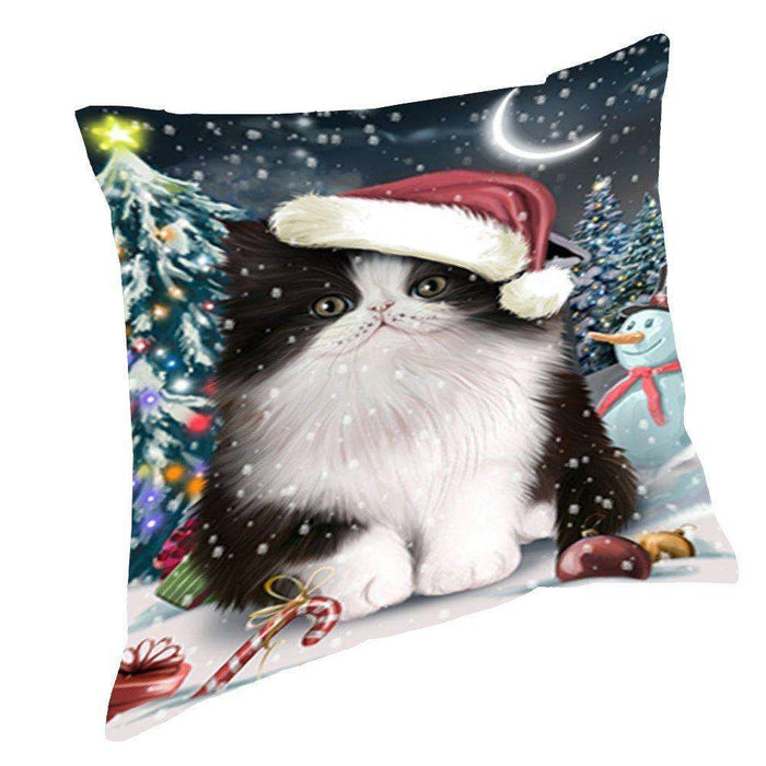 Have a Holly Jolly Christmas Happy Holidays Persian Cat Throw Pillow PIL536