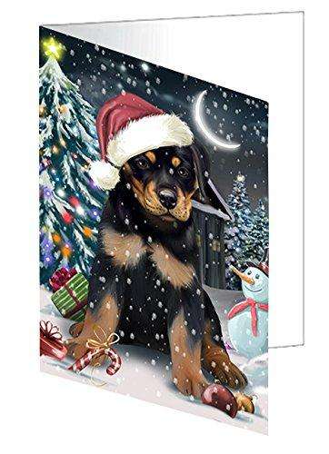 Have a Holly Jolly Christmas Happy Holidays Rottweiler Dog Greeting Card GCD2570