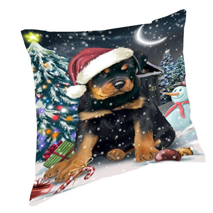 Have a Holly Jolly Christmas Happy Holidays Rottweiler Dog Throw Pillow PIL624