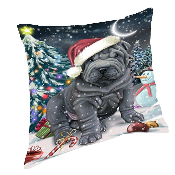 Have a Holly Jolly Christmas Happy Holidays Shar Pei Dog Throw Pillow PIL712