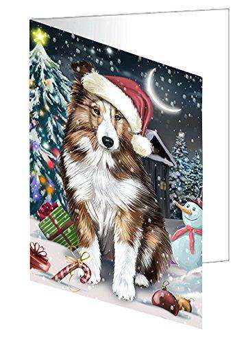 Have a Holly Jolly Christmas Happy Holidays Shetland Sheepdog Greeting Card GCD2870