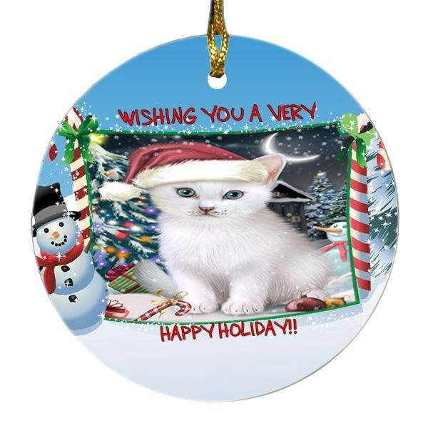 Have a Holly Jolly Christmas Happy Holidays Turkish Angora Cat Round Snowman Christmas Ornament SNORN49105