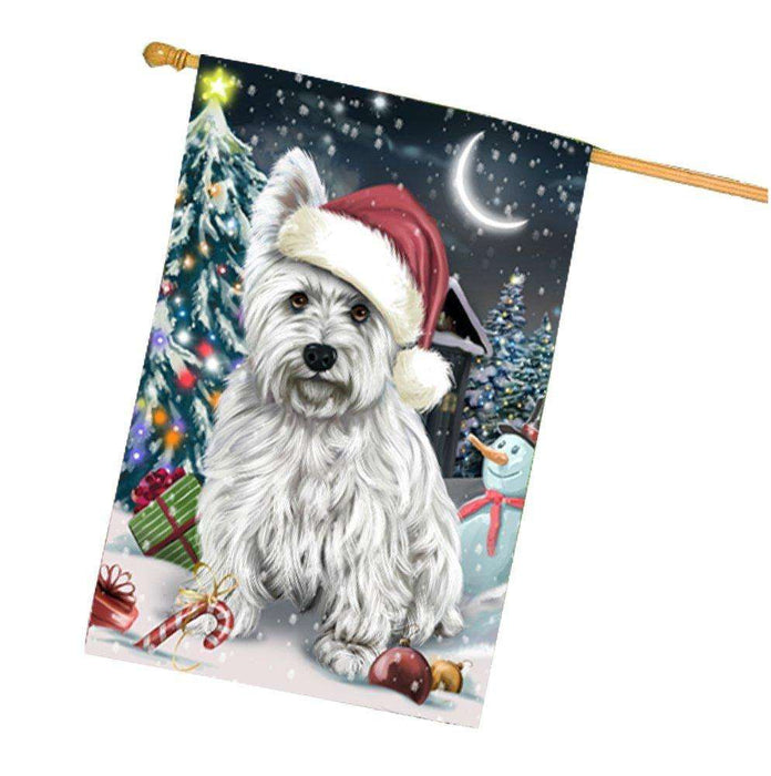 Have a Holly Jolly Christmas Happy Holidays West Highland White Terrier Dog House Flag HFLG265