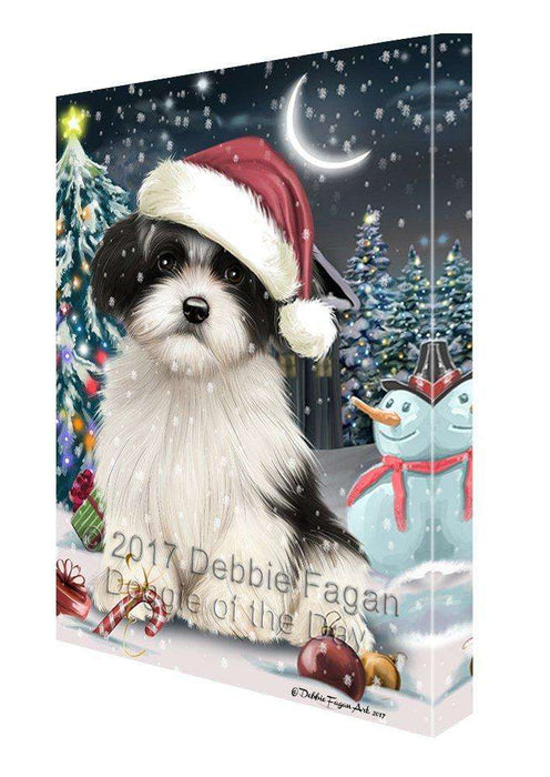 Have a Holly Jolly Christmas Havanese Dog in Holiday Background Canvas Wall Art D100