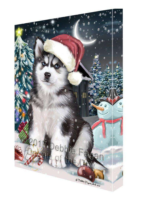 Have a Holly Jolly Christmas Husky Dog in Holiday Background Canvas Wall Art D103