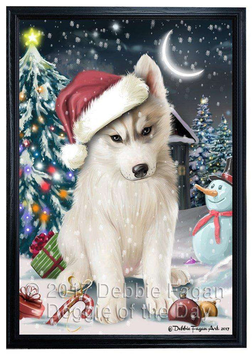 Have a Holly Jolly Christmas Husky Dog in Holiday Background Framed Canvas Print Wall Art D019