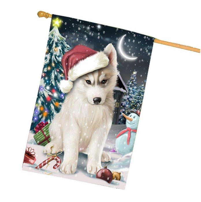 Have a Holly Jolly Christmas Husky Dog in Holiday Background House Flag