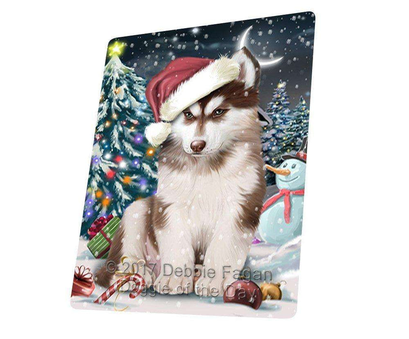 Have a Holly Jolly Christmas Husky Dog in Holiday Background Large Refrigerator / Dishwasher Magnet D105
