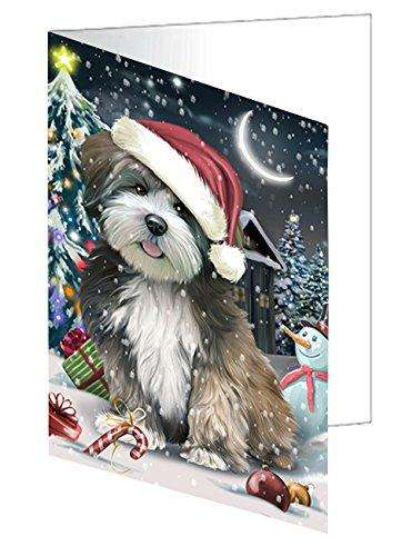 Have a Holly Jolly Christmas Lhasa Apso Dog in Holiday Background Greeting Card D284