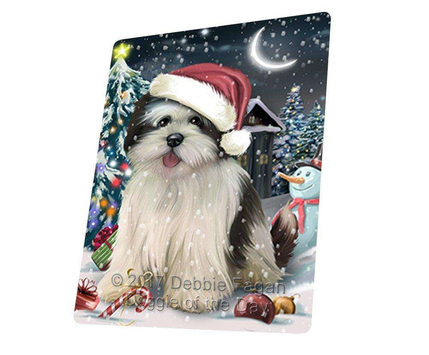 Have a Holly Jolly Christmas Lhasa Apso Dog in Holiday Background Large Refrigerator / Dishwasher Magnet D182