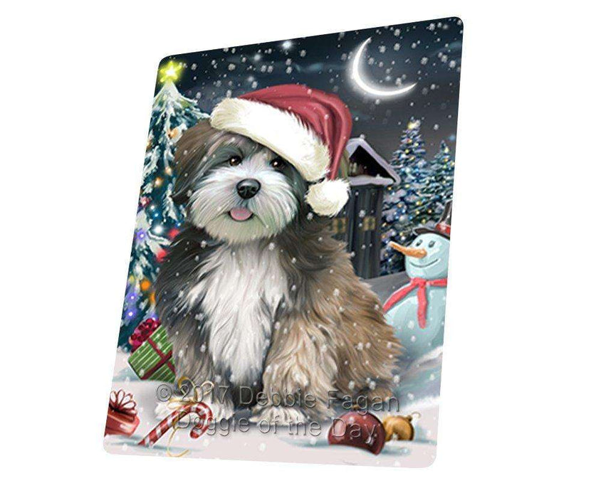 Have a Holly Jolly Christmas Lhasa Apso Dog in Holiday Background Large Refrigerator / Dishwasher Magnet D183