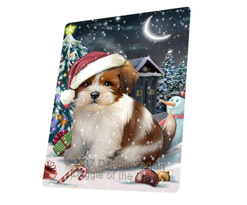 Have a Holly Jolly Christmas Lhasa Apso Dog in Holiday Background Large Refrigerator / Dishwasher Magnet D185