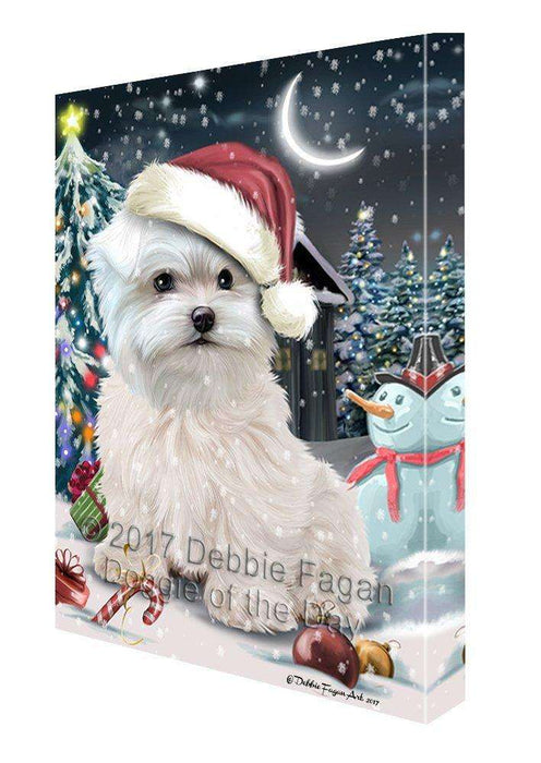 Have a Holly Jolly Christmas Maltese Dog in Holiday Background Canvas Wall Art D188