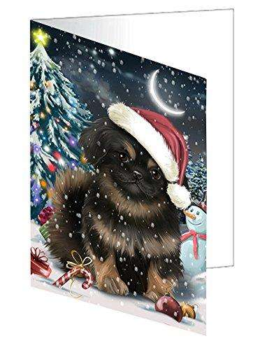 Have a Holly Jolly Christmas Pekingese Dog in Holiday Background Greeting Card D297