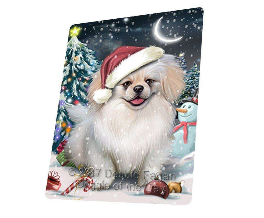 Have a Holly Jolly Christmas Pekingese Dog in Holiday Background Large Refrigerator / Dishwasher Magnet D195