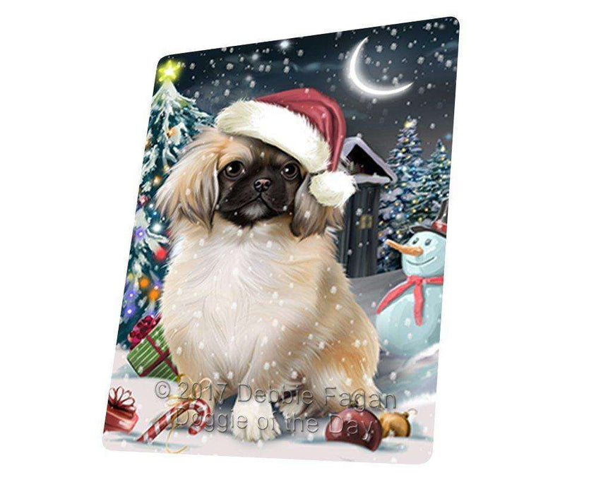 "Have A Holly Jolly Christmas Pekingese Dog In Holiday Background Magnet Mini (3.5"" x 2"") D197"