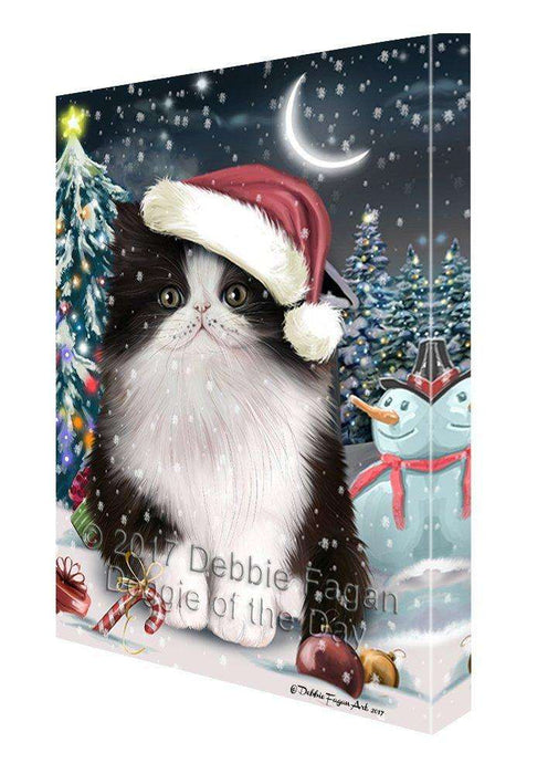 Have a Holly Jolly Christmas Persian Cat in Holiday Background Canvas Wall Art D200
