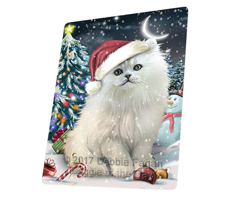 Have a Holly Jolly Christmas Persian Cat in Holiday Background Tempered Cutting Board D199