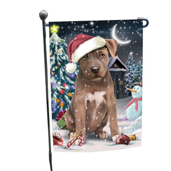 Have a Holly Jolly Christmas Pitbull Dog in Holiday Background Garden Flag D109
