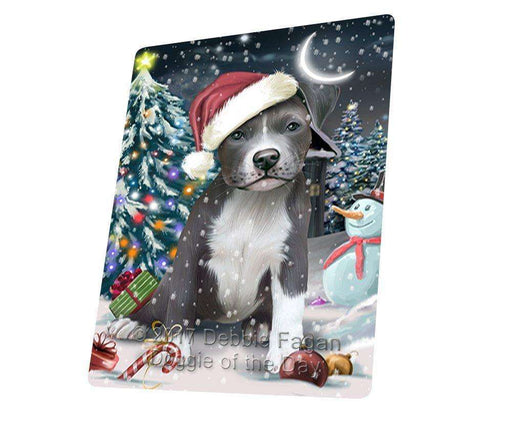 "Have A Holly Jolly Christmas Pitbull Dog In Holiday Background Magnet Mini (3.5"" x 2"") D108"
